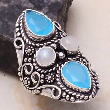 Chalcedony Rainbow Moonstone Handmade Ring Jewelry US Size-8.75AR 5418