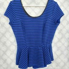 Womens Striped Faux Leather Peplum Blouse Large Top Shirt Blue Black S/S