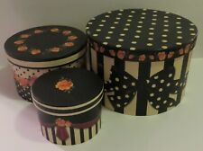 "Set of 3 Round Nested Boxes w/Storage Trays Sandy Clough ""Laura"""