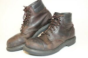Red Wing Mens 9.5 D Vintage Distressed Leather Steel Toe USA Made Work Boots