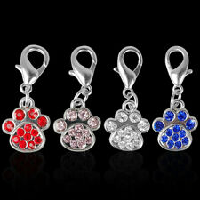 4/8pcs Cute Paw Print Rhinestones Tags Collar Charms Pendants With Labster Clasp