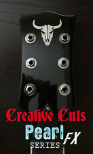 Mad Bull Toro Loco Custom Skull Guitar Headstock Logo MOP Vinyl Sticker Decal