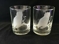 """Etched Owl Drinking Glasses Tumblers Rocks Set of 2 4.25"""" Barware"""