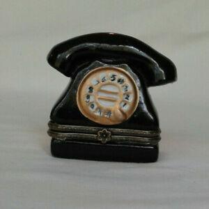 Ceramic/Porcelain Black Dial Phone Hinged Trinket Box