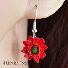 Red Gerbia Hook Earrings, Handmade Polymer Clay, Summer Flower, Nature