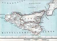Sicilia Calabria 1906 mappa dell'atlante ferroviario orig Messina Trapani Reggio