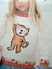 KNITTING PATTERN 'POPPY CAT' NICK JR MOTIF CHILDRENS SWEATER  2-5 YEARS