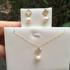 100% Freshwater Pearl Nice Earrings/Pendant Set In 18k Gold With 45cmNecklace