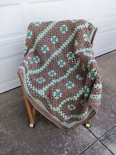 "Afghan/Blanket/Throw - Brown & Green - Size 44""X60"" - Great Gift Item"
