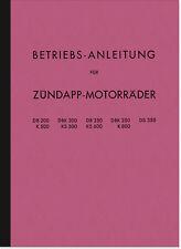 Zündapp DB DBK DS K KS 200 250 350 500 600 800 Bedienungsanleitung Handbuch