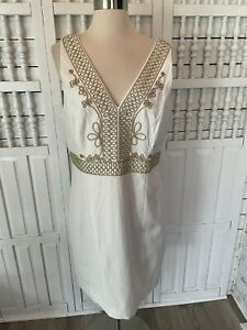 Lilly Pulitzer women's size 14, white, gold applique, wedding, party dress, C11