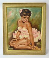 Original Vintage 1950's Pin-Up Oil Painting Sexy Ballerina in Tutu Signed