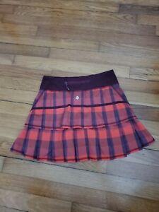 Lululemon Pace Setter Skirt  Yama Check Flaming Tomato Bordeaux Run Red size 2
