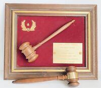 """1987 Framed Masonic Gavel """"Worship Master"""" Plaque Oregon Judge Mallet Free Mason"""