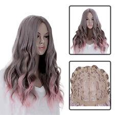 Neu Mode Wig Lang Gelockt Gewellt Volle Haar Perücke Cosplay Kostüm Grau