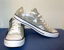NWT Converse All Stars Silver Glitter Low Top Unisex 12 Women 10 Men Fast Ship!