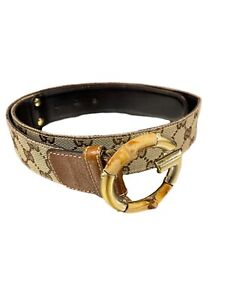 Gucci Canvas and Bamboo Belt