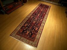3.4 x 13.3 Hand Knotted 1930s Antique Persian Tabriz Herati Vintage Wool Runner