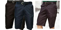 Mens Cargo Shorts Plain Combat Casual Summer Beach Poly Cotton Pockets 3/4 Pants