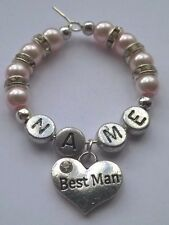 """Personalised """"Best Man"""" Wine Glass Charm, Handmade with Rondelle Diamante"""