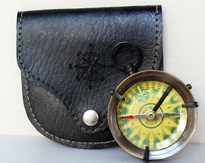 Antique Brass Maritime Shipm Boston Pocket Compass With Black Leather Case Gift