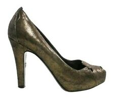 FENDI Metallic Bronze Peep Toe Leather Cut Out Heels Pumps SZ 37 US 7 6.5