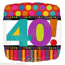 "Anagram HAPPY 40th BIRTHDAY 40 Today Mens Ladies Square Foil Helium Balloon 18"""