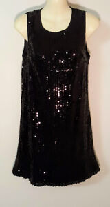 WOMAN by Peter Morrissey Black Dress 8 Shimmer Sequined Pencil Lined Stretch