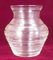 Banded Rings Vase Clear Depression Glass Vintage Small HELP
