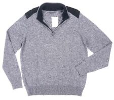 NEW SEAN JOHN BLACK GRAY MIX FAUX SUEDE TRIM KNITTED HALF ZIP SWEATER SIZE 2XL