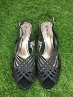 Pavers Size 5 Euro 38 Black Silver Strappy Slingback Peep Toe Sandals Evening