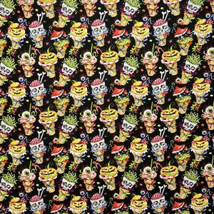 0.5 metre Spooky Ice Cream Digital Cotton 100% Cotton Fabric 140cm wide