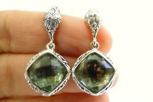 Green Amethyst Solitaire Ornate 925 Sterling Silver Dangle Drop Earrings