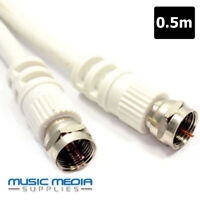 0.5m White Satellite Coax Cable Coaxial F Lead For Sky Plus HD Sat Patch lead
