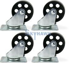 "4-Pc. 3"" 350-lb-Capacity All-Steel Wide Wheel Swivel Top Plate Casters"