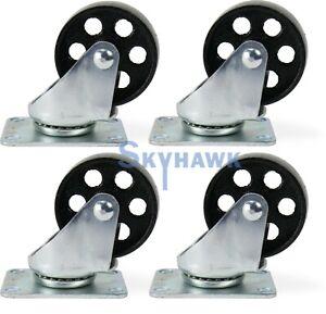 "4-Pc. 3"" 350-lb-Capacity All-Steel Wide Wheel Swivel Top Plate Casters"