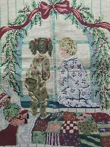 """Christmas tapestry pillow block cover little boy girl looking out window 19""""x18"""""""