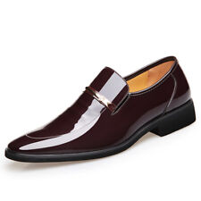 Business Men's Pumps Slip on Shiny British Party Dress Formal Leather Shoes Chic