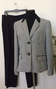 New Kasper Women's Houndstooth Black White 2 Pc Pant Suit Size 12/14, MSRP $280
