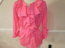 boston proper neon pink ruffle blouse 4 new                           #40