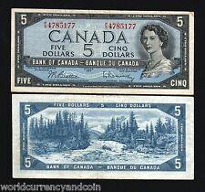 CANADA 5 DOLLARS P77b 1961 QUEEN BEATIE / RASMINSKY SIGN FOREST RIVER MONEY NOTE