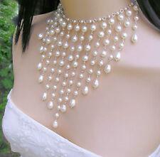 Stunning White Multi-Drop Crystal Pearl Bridal Necklace Prom. Swarovski Elements