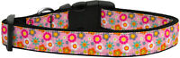 Dog Collar Pet Nylon Adjustable - Pink Spring Flowers - Medium - 25-45cm