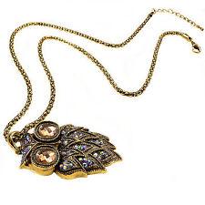 Lunga GUFO Ciondolo Collana Oro Arancio Diamante Sfaccettato Stone Design