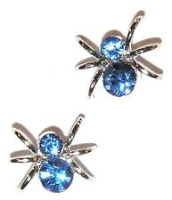 Bitsy Spider Blue Earrings Rhinestone Studs Itsy
