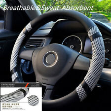 Breathable Anti-Slip Autos Microfiber Leather Ice Silk Steering Wheel Cover 38cm