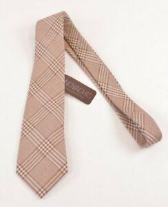 Edward Armah NWT Silk Cotton Neck Tie In Light Brown & White Plaid