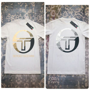 RUNS SMALL Sergio Tacchini Men's Logo Print T-Shirts White Silver/Gold
