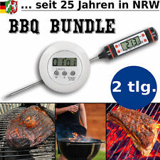BBQ SET Grill Timer Smoker Thermometer Uhr Grillthermometer Fleischthermometer