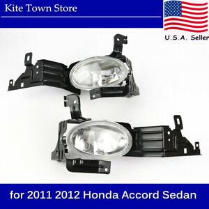 Pair Replacement Clear Fog Lamp Bumper Lights for 2011 2012 Honda Accord Sedan